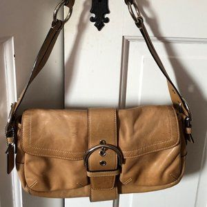 Coach soft brown leather handbag - silver finish